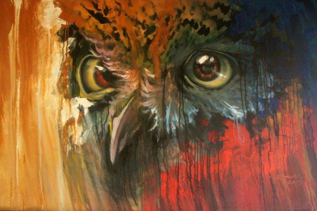 burung hantu owl painting